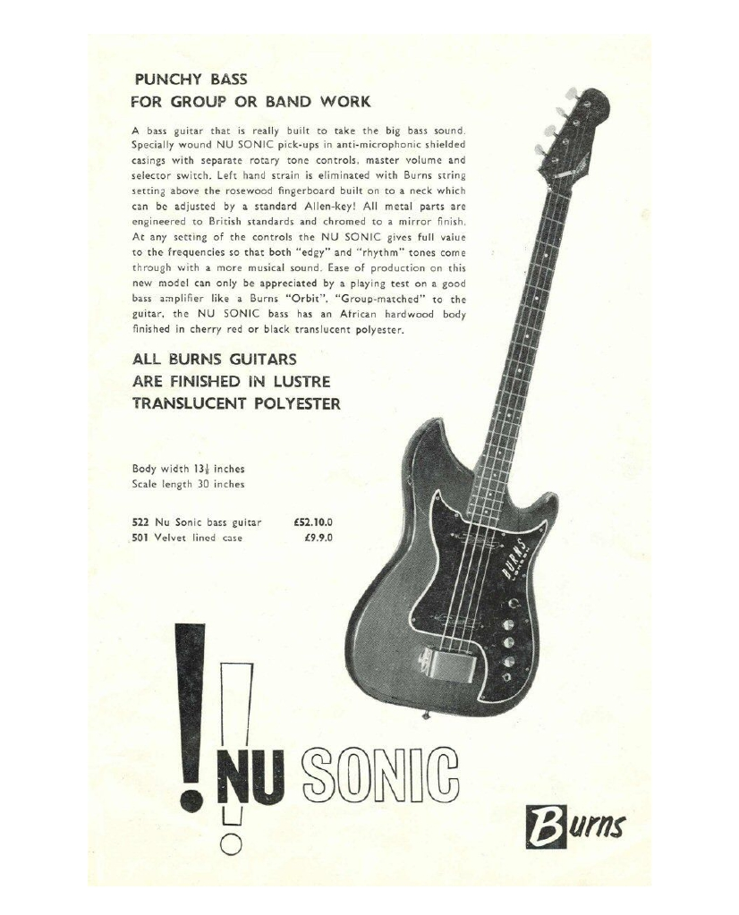 burns nu sonic guitar & bass reference page guitar wiring for dummies 18th december 1964 nu sonic guitar
