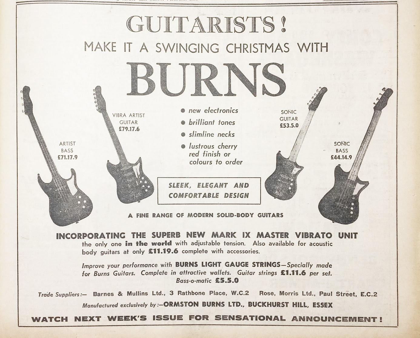 Burns Swinging Christmas 1961 advert
