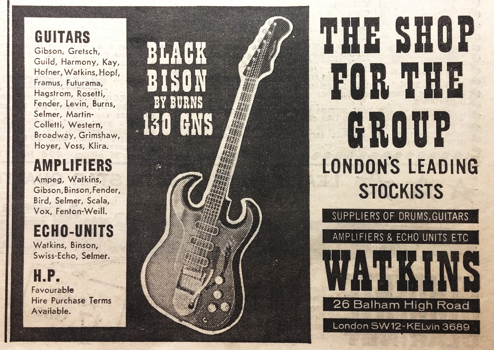 Burns Black Bison Guitar Bass Reference Page Framus Wiring Diagram Watkins Advert
