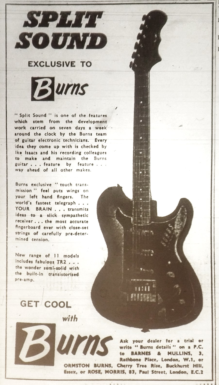 Burns Vista-Sonic & Split Sonic Guitar & Bass Reference Page