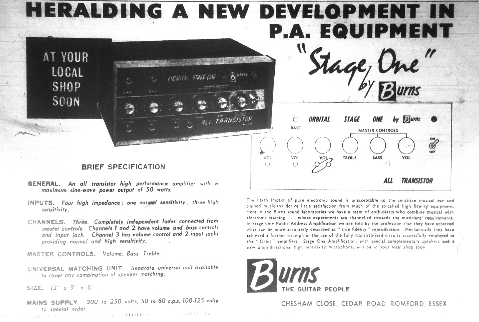 Burns Stage One advert